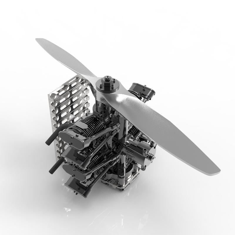 _4缸对置气缸发动机模型