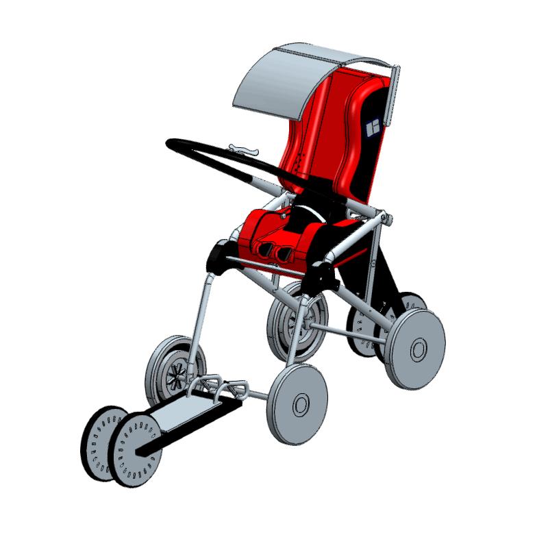 滑板助力太阳能空调婴儿散步车
